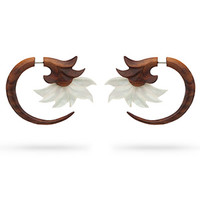 Flower Crest Faux Wood Hanger Earrings
