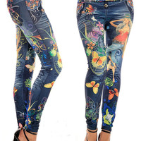 2016 Fashion Women Tattoo Leggings Pant Sexy Girl 3D Print Joggers Pants Cartoon Dance Trousers Hiphop Ladies Fitness Clothes