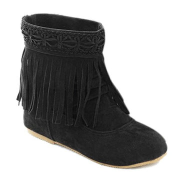 Short Boots With Flock and Fringe Design