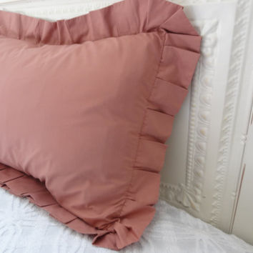 ruffle pillow shams vintage linen pink dusty rose set two 2 pillowcases