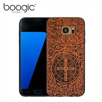 BOOGIC Phone Cases For Samsung Galaxy S7 Edge Cover Original  Tailor-Made TPU Wood Mobile Phone Shell For Galaxy S7 Edge