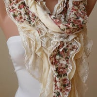 Beige - Light Yellow Lace and Cotton Scarf - Summer Collection