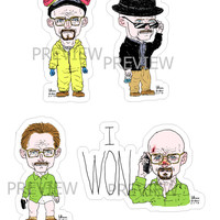 Breaking Bad Stickers Size Big Pack of 7 Chibi Funny Caricature