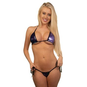 Micro Tie Side Thong - Hollywood Purple - Black