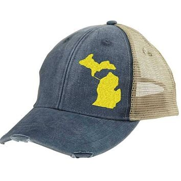 Michigan Hat - Distressed Snapback Trucker Hat  - off-center state pride hat - Pick your colors