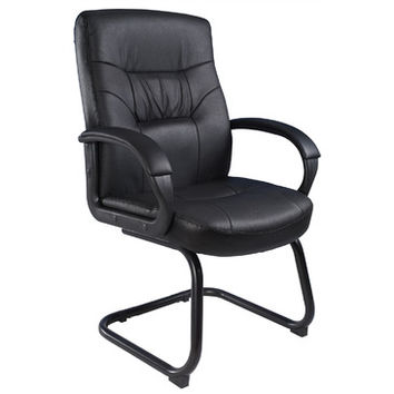 Boss Chairs Boss Executive Mid Back Leatherplus Guest Chair w/ Cantilever Sled Base