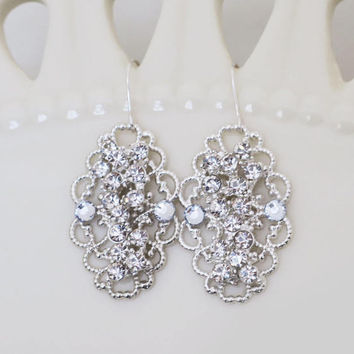 Wedding Earrings Vintage Bridal Crystal Earrings Rhinestone Bridal Earrings Dangle Statement Wedding Jewelry for Bridesmaids Sterling Silver