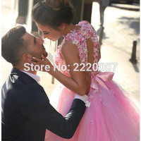 Ky31  Pink Short Tulle Graduation Prom Dress 2016 Girls New Sexy Appliques A Line 8th Grade Prom Homecoming Cocktail Party