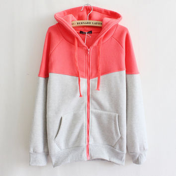 Korean Hats Zippers With Pocket Fleece Hoodies Jacket [7788615175]