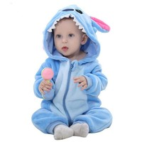 2017 Infant Romper Baby Boys Girls Jumpsuit New born Bebe Clothing Hooded Toddler Baby Clothes Cute Stitch Romper Baby Costumes
