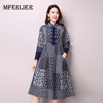 Spring Autumn Women's National Wind Casual Long Sleeve Cotton Linen Dress Long Blue Color Floral Print Dresses