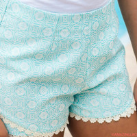 Resort Life Sky Blue Crochet Trim Geometric Shorts