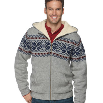 Sherpa Fleece-Lined Sweater, Hoodie Fair Isle: Sweatshirts | Free Shipping at L.L.Bean