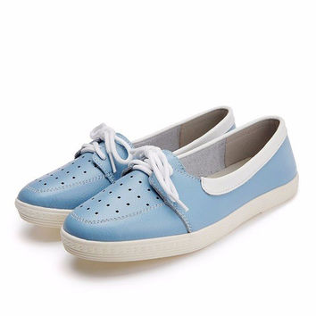 Big Size Color Match Hollow Out Breathable Lace Up Leather Flat Shoes