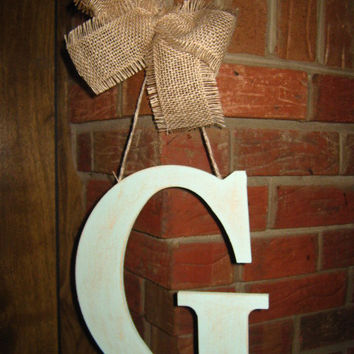 Mint green distressed initial door hanger with burlap
