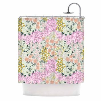 "Akwaflorell ""Colorful Garden3"" Coral Pink Illustration Shower Curtain"