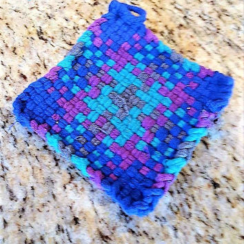 Loomed Cotton Trivet,  Woven Kitchen Coaster, Loomed Coaster, Gift for Chefs, Gifts for Foodies, Kitchen Accessories, Easter Basket Filler