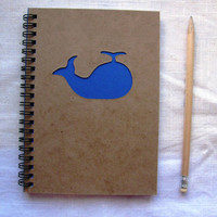 Whale Peek-a-boo- 5 x 7 journal- Your choice Peek a boo color