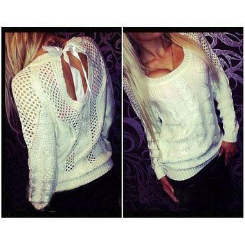 Bow Tie Hollow Cable Pullover Pure Knit Sweater