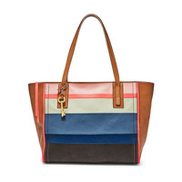 NWT Fossil Bright Stripe Emma Tote Large Leather Handbag