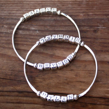 Custom Bangle Bracelet - (Base price for BANGLE ONLY - letters extra), Perfect Gift for Mom, Grandmother, Girlfriend Gift Mother's Day Gift
