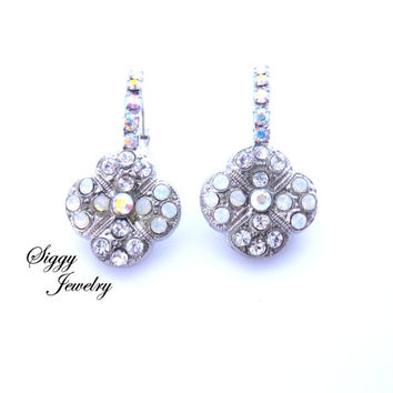Swarovski crystal Bridal earrings, clover shape, multi-stone, white opal, clear crystals, Siggy Wedding Jewelry