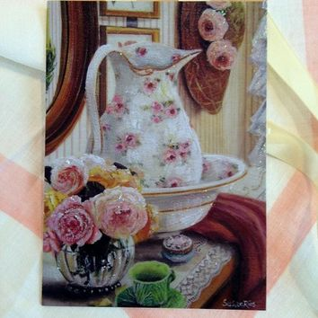 Susan Rios Antique Pitcher with Roses Mini Tea Art