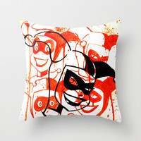 Animated Harley Quinn faces watercolor acrylic Throw Pillow by Justin 13 Art