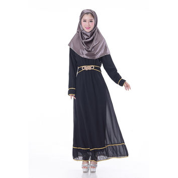 Chic Chiffon Kaftan Abaya Jilbab Islamic Muslim Women's Long Sleeve Maxi Dress New PY3 SM6