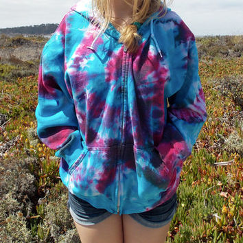Tie Dye Zip up Hoodie - Hot Pink, Turquoise, Purple - Upcycled - Tiedye Swirl