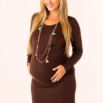 Cute and Colorful Maternity Dress in Brown