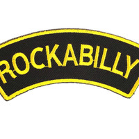 "ROCKABILLY Golden Logo Iron On Sew On Embroidered Patch 4.5""/11cm"
