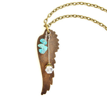 Feather Necklace Boho Jewelry Nature Jewelry, Brass, Aqua Blue Apatite Gemstone and Crystal, Statement Necklace