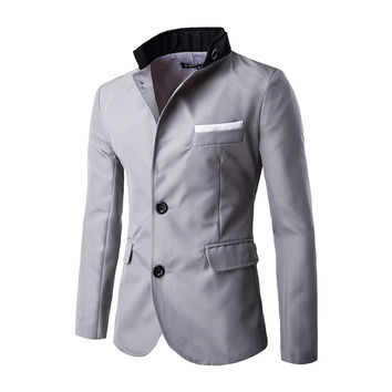 2016 HOT Casual Slim fit  Stylish Single Breasted Suit  Blazer  Mens Coat  Male Fashion  Stand Neck Formal Clothing   PX17
