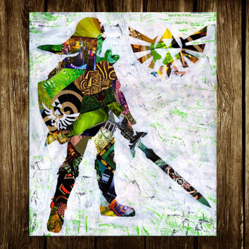 Zelda poster, Zelda print, Link art, Legend of Zelda, Mixed Media collage art, kids room art, kids room decor, gift for geeks