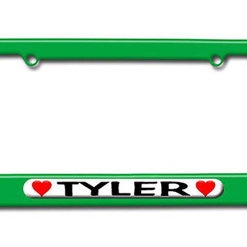 Tyler Love with Hearts License Plate Frame