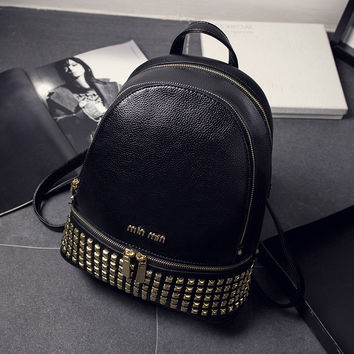 Comfort Stylish College Casual Hot Deal Back To School On Sale Korean Rivet Soft Backpack [6581507975]
