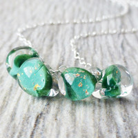Shamrock Green Glass Lampwork Necklace, Green & Gold Glitter Lampwork Glass Handmade Teadrops, Sterling Silver, St. PatricksDay Jewelry Gift