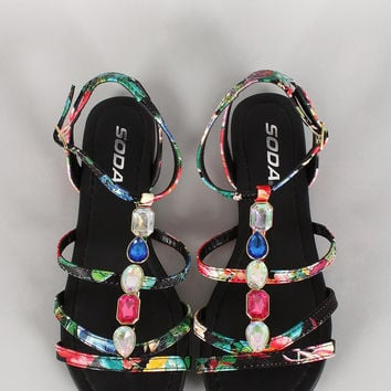 Soda Floral Jeweled Strappy Open Toe Flat Sandal