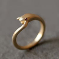 Snake Tail Ring in Brass with Rubies