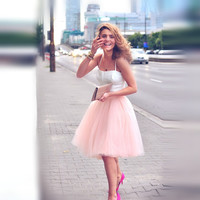 High Street Fashion Women Tulle Skirt with Five Layers One Lining Puffy A-line Custom Made Knee Length Tutu Elastic Satin Waist