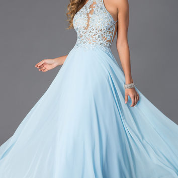 Blush Exclusive Floor Length Dress with Lace Bodice