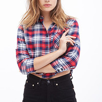 FOREVER 21 Boxy Plaid Flannel Top Navy/Red