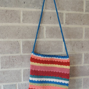 Bright Stripes Mini Tote Bag -- Hand Crocheted