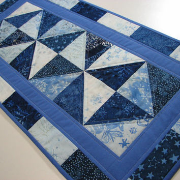 Quilted Table Runner , Christmas Table Runner , Blue and White Batiks
