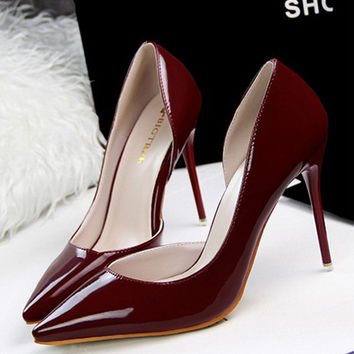 free shipping shoes woman women pumps chaussure femme zapatos mujer  tacon alto sapato feminino high heel shoes wine red 48