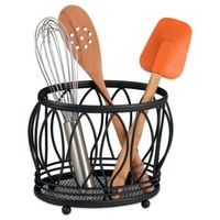Spectrum™ Steel Leaf Utensil Holder in Black