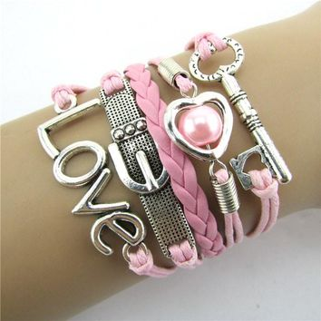 Fashion Infinity Heart Pearl Love Key Leather Alloy Charm Bracelet Pink
