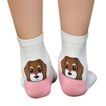 Moodeosa 2017 Socks 2017 New Spring Summer Autumn Women Girls 3D Animals Cartoon Dog Puppy Short Cotton Socks