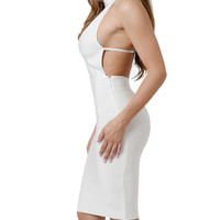 White Kruz Side Cleavage Halter Top Bandage Dress